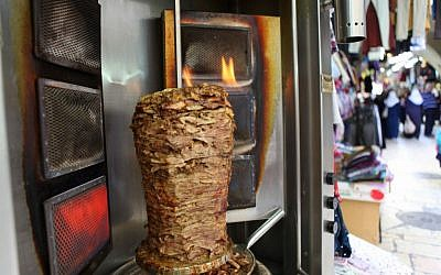 Illustrative photo of shawarma in the Old City of Jerusalem. (Wikimedia Commons)