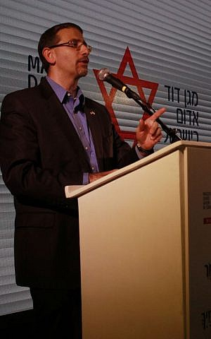 US Ambassador to Israel Dan Shapiro speaks at a cornerstone-laying ceremony for the emergency service's new blood bank in Ramle on November 16, 2016. (Judah Ari Gross/Times of Israel)