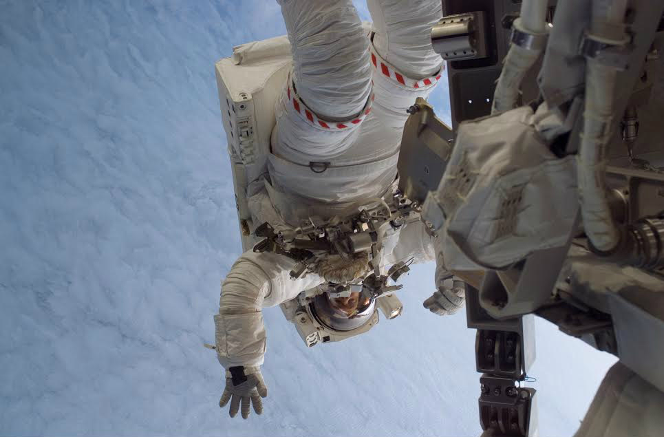 Steve MacLean on a space walk at the International Space Station. (Courtesy)