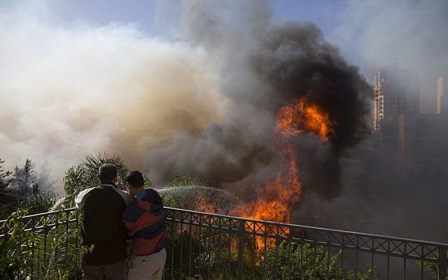 Men hose down wildfires that threaten their homes in Haifa, Israel, Thursday, Nov. 24, 2016. (AP Photo/Ariel Schalit)