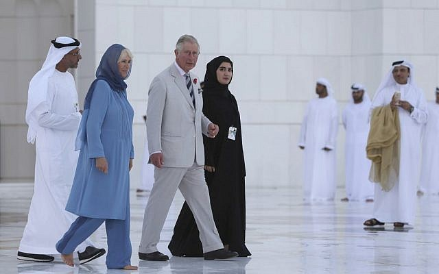 Britain's Prince Charles and his wife, Camilla, Duchess of Cornwall visit the Sheikh Zayed Grand Mosque in Abu Dhabi, United Arab Emirates, Sunday, Nov. 6, 2016. (AP Photo/Kamran Jebreili)