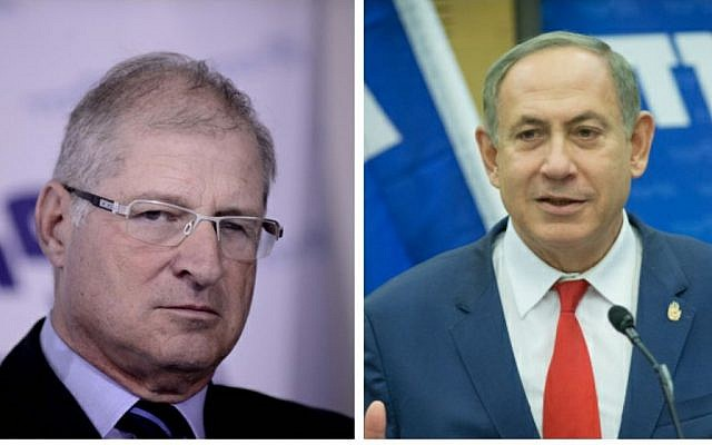 Prime Minister Benjamin Netanyahu, right, and his personal lawyer David Shimron, left. (Flash90)