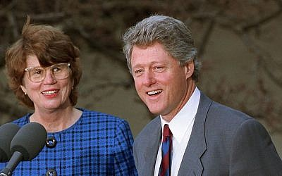 US President Bill Clinton names Janet Reno the nation's first female attorney general at a ceremony in the Rose Garden at the White House in Washington, February 12, 1993. (AP Photo/Doug Mills)