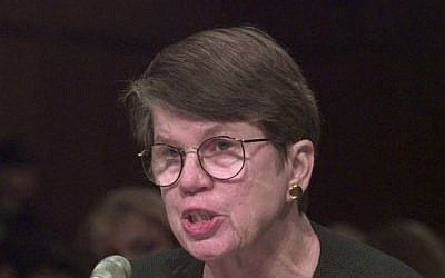 US Attorney General Janet Reno testifies before the Senate Governmental Committee in Washington, March 17, 1999. (AP Photo/Dennis Cook)