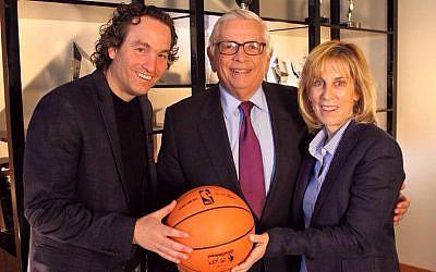 Director Dani Menkin (left) with former NBA commissioner David Stern and executive producer Nancy Spielberg (Niv Eshet Cohen)