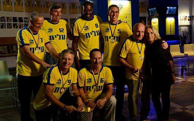 Maccabi Tel Aviv 1977 European champions reunite. Back row: Moti Aresti, Lou Silver, Aulcie Perry, Shuki Schwartz; Front row: Miki Berkovich, Tal Brody, Aryeh Davidesco, Ruti Klein (widow of coach Ralph Klein). (Avner Gera)