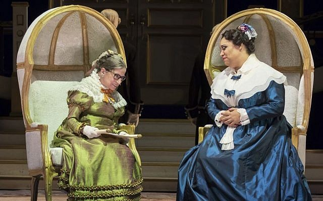 "This Thursday, Nov. 10, 2016 photo released by the Washington National Opera shows US Supreme Court Justice Ruth Bader Ginsburg, left, as the Duchess of Krakenthorp in a dress rehearsal of Donizetti's ""The Daughter of the Regiment"" at the Washington National Opera, in Washington. (Scott Suchman/WNO via AP)"