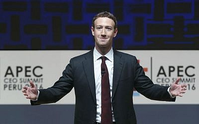Mark Zuckerberg, chairman and CEO of Facebook, speaks at the CEO summit during the annual Asia Pacific Economic Cooperation (APEC) forum in Lima, Peru, November 19, 2016. (AP Photo/Esteban Felix)