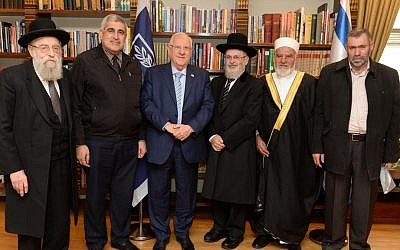 President Reuven Rivlin meets with Jewish and Muslim leaders at his Jerusalem residence on November 29, 2016. (Mark Neiman/GPO)