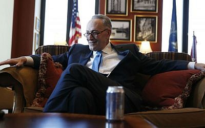 Senate Minority Leader-elect Chuck Schumer of New York in an interview with The Associated Press in his office on Capitol Hill in Washington, Friday, Nov. 18, 2016. (AP Photo/Alex Brandon)