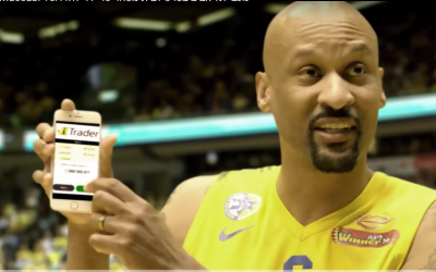 A  recent commercial showing Maccabi Tel Aviv basketball players promoting iTrader (Screenshot Youtube)
