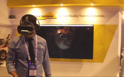 A participant at the Homeland Security and Cyber Conference 2016 tests Elbit's Emergency Scenarios Virtual Reality Trainer. (Courtesy)