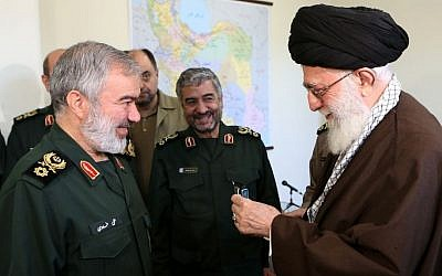 Iranian Supreme Leader Ali Khamenei, right, with Brigadier General Ali Fadavi and other commanders of the Islamic Revolutionary Guard Corps, following the arrest of US soldiers in the Persian Gulf. (Wikimedia Commons)