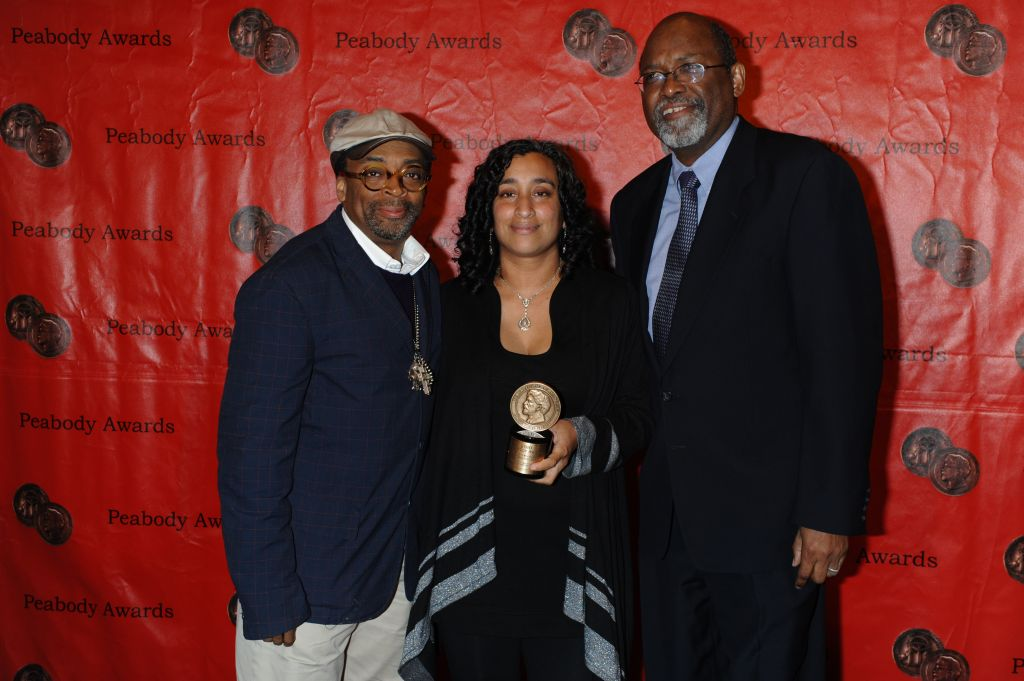 Spike Lee and Geeta Gandbhir with director Sam Pollard (right) at the Peabody Awards. (Anders Krusberg/Peabody Awards)
