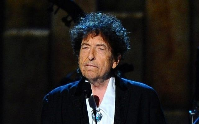 Bob Dylan accepts the 2015 MusiCares Person of the Year award at a ceremony in Los Angeles, February 6, 2015. (Vince Bucci/Invision/AP)