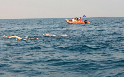 Swimmers attempt a seven-hour swim across the Dead Sea in from Jordan to Israel a bid to draw attention to its environmental degradation on November 15, 2016. (EcoPeace Middle East)