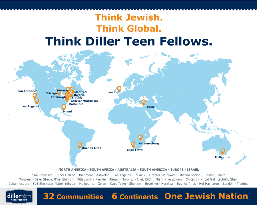 Diller Teen Fellow graphic which illustrates its 32 partnering communities. (courtesy)