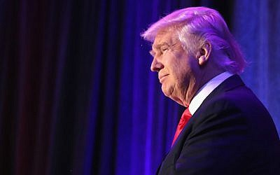 President-elect Donald Trump acknowledging the crowd prior to making his victory speech at the New York Hilton, Nov. 9, 2016. (Joe Raedle/Getty Images via JTA)