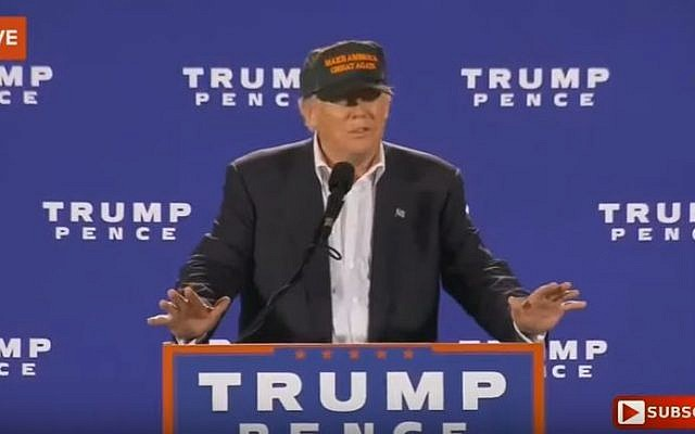 Trump addresses the crowd at a rally in Jacksonville, Florida on November 3, 2016 (Screen capture: YouTube)