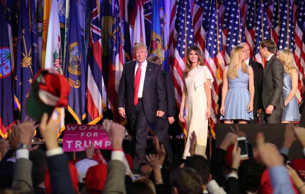 President-elect Donald Trump walks off the stage after delivering his victory speech on Election Night, November 8, 2016 (Eric Cortellessa/Times of Israel)