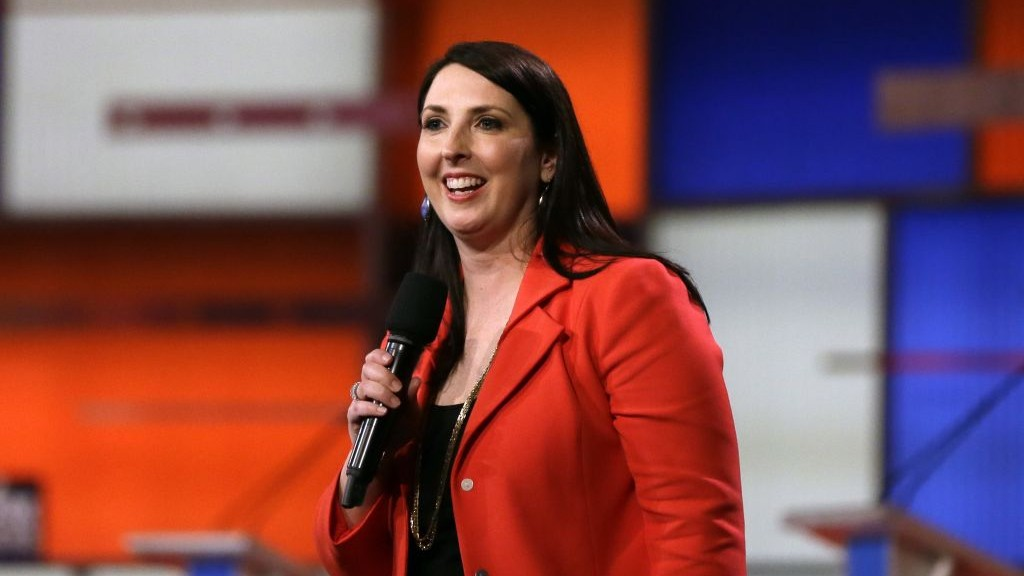 Ronna Romney McDaniel, the then-Michigan Republican Party chair, speaks before a Republican presidential primary debate in Detroit, March 3, 2016. (AP Photo/Carlos Osorio/File)