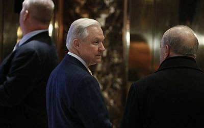Sen. Jeff Sessions, R-Ala., waits for an elevator as he arrives at Trump Tower in New York, November 16, 2016. (AP/Carolyn Kaster)