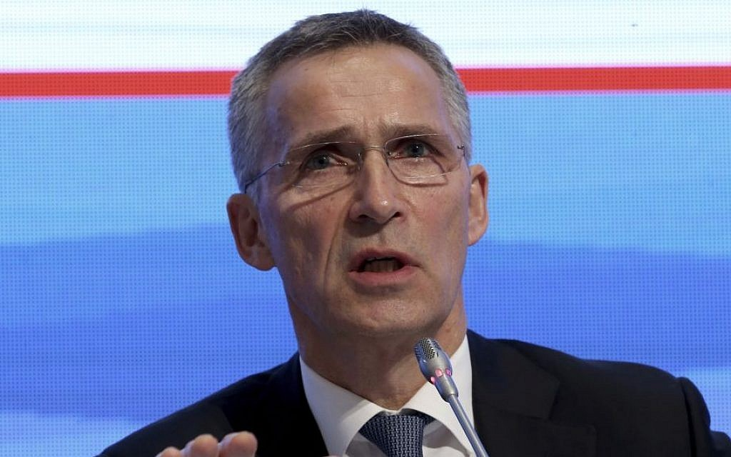 NATO Secretary-General Jens Stoltenberg addresses a NATO parliamentary assembly meeting in Istanbul, Monday, November 21, 2016. (AP Photo)