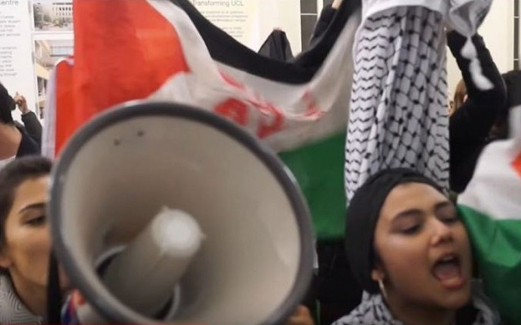 Pro-Palestinian students at University College London disrupt an Israel advocacy event on campus on October 28, 2016. (screen capture: YouTube)
