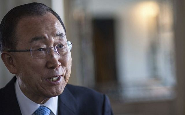 United Nations Secretary-General Ban Ki-moon speaks to the Associated Press during an interview, in Marrakech, Morocco, November 16, 2016. (AP/Mosa'ab Elshamy)