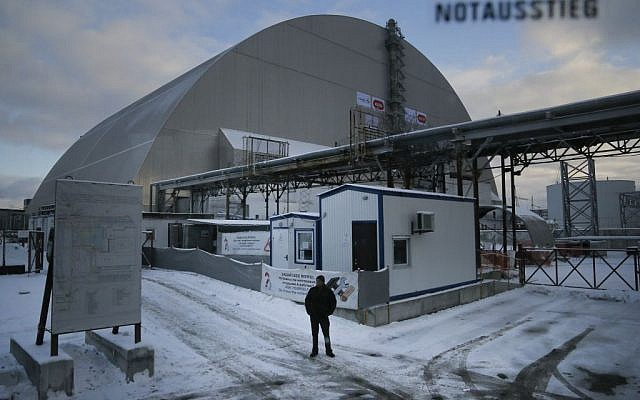 Illustrative: A view of a new shelter installed over the old sarcophagus housing the destroyed reactor at the Chernobyl nuclear power plant, Chernobyl, Ukraine, Tuesday, Nov. 29, 2016. (AP Photo/Efrem Lukatsky)