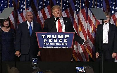 President-elect Donald Trump addresses the American people in his victory speech early Wednesday, November 9, 2016 (screen capture: YouTube)