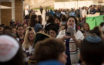 Women pray at the Western Wall, November 2, 2016. (Luke Tress/Times of Israel)