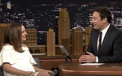 A pregnant Natalie Portman talks with Jimmy Fallon on The Tonight Show, November 29, 2016. (YouTube screenshot)