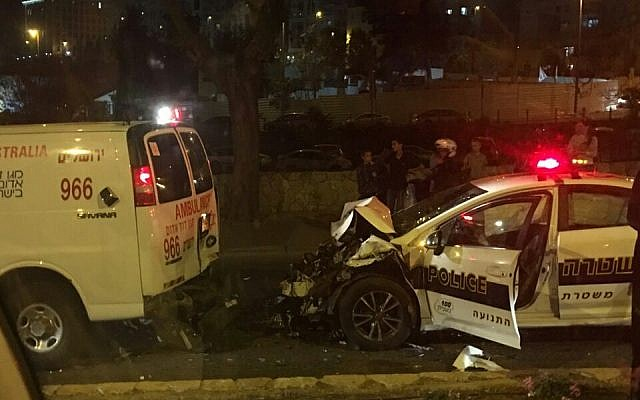 A car accident in Jerusalem involving the prime minister of Poland Beata Szyldo on November 21, 2016. (United Hatzolah)