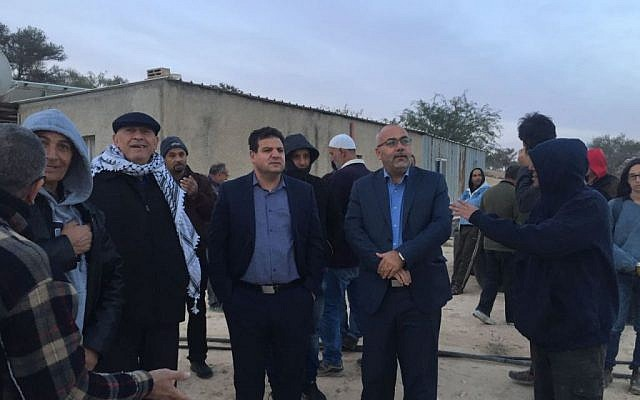 File: Members of the Arab Joint List at the Bedouin village of  Umm Al-Hiran on November 22, 2016. (Courtesy Joint List spokesperson)