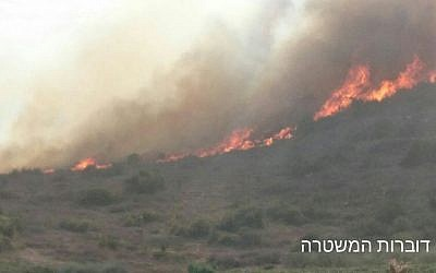 Image of a fire on the outskirts of Zichron Yaakov on November 22, 2016.  (Credit: Israeli police spokesperson's unit)