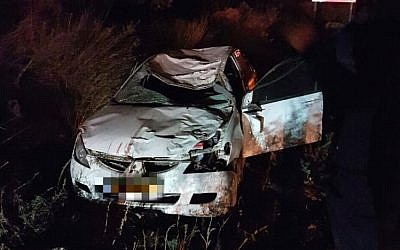 A car damaged in a collision with a horse in the central West Bank on November 28, 2016, which left two people dead (Magen David Adom)