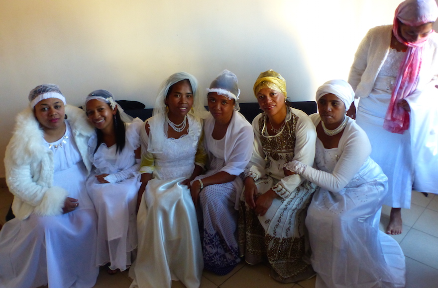Malagasy women getting married after converting to Judaism, May 2016. (Deborah Josefson/JTA)