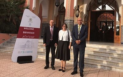 Zionist Union MKs Zouheir Bahloul (R) and Yael Cohen Paran and Kulanu MK Akram Hasson in Marrakech, Morocco in November 2016 (Courtesy)