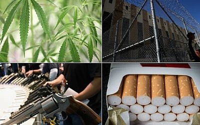 (Top left, clockwise, marijuana photo: Richard Lautens/Toronto Star via Getty Images; prison photo: Justin Sullivan/Getty Images; cigarettes photo: Matt Cardy/Getty Images; guns photo: Ethan Miller/Getty Images)