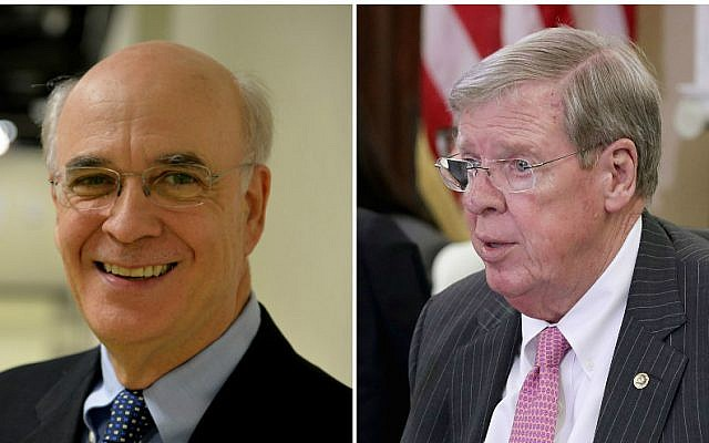Jim Barksdale, left, is challenging incumbent Sen. Johnny Isakson in the 2016 race. (Getty Images via JTA)