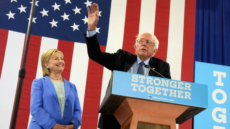 Bernie Sanders introducing the then-presumptive Democratic presidential nominee Hillary Clinton at a rally in Portsmouth, N.H., July 12, 2016. (Darren McCollester/Getty Images)