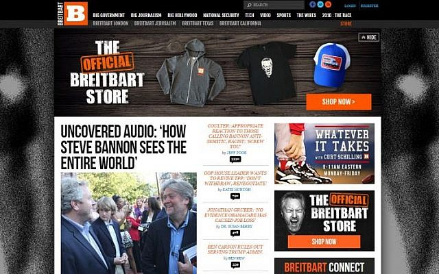 A screen capture of the Breitbart website on November 16, 2016.
