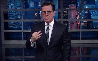 Stephen Colbert on the set of his late-night CBS show, Nov. 3, 2016. (Screen capture YouTube)