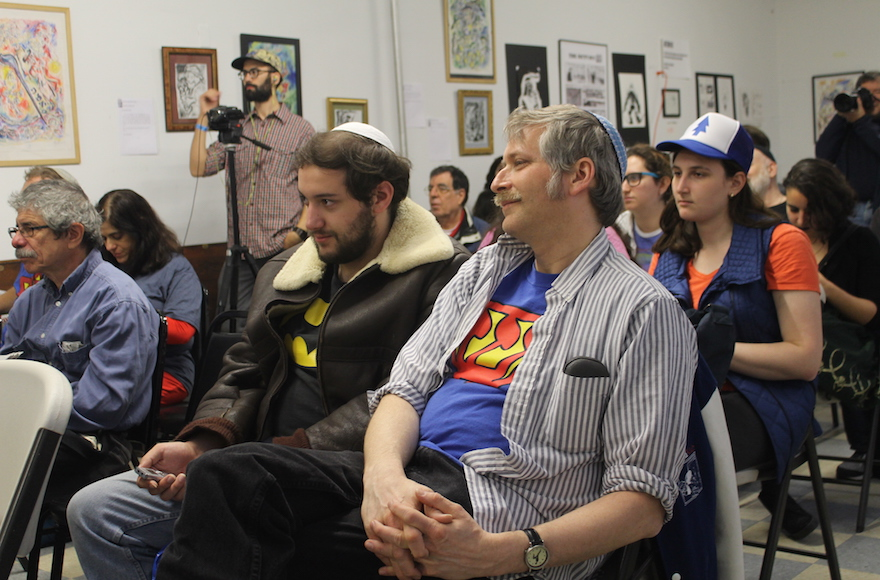 Jewish Comic Con participants listening to a panel on Jewish characters in comics, November 13, 2016. (Ben Sales/JTA)