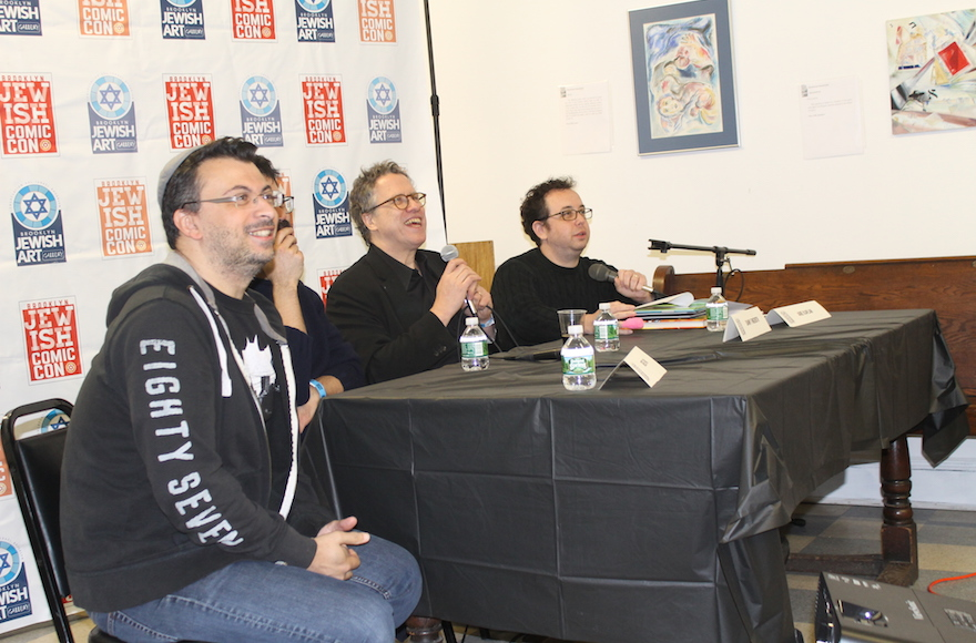 A panel on 'Jewish Heroes and Villains' at the inaugural Jewish Comic Con in Brooklyn, November 13, 2016. The panel delved into the thorny question of 'Who is a Jew?' (Ben Sales/JTA)
