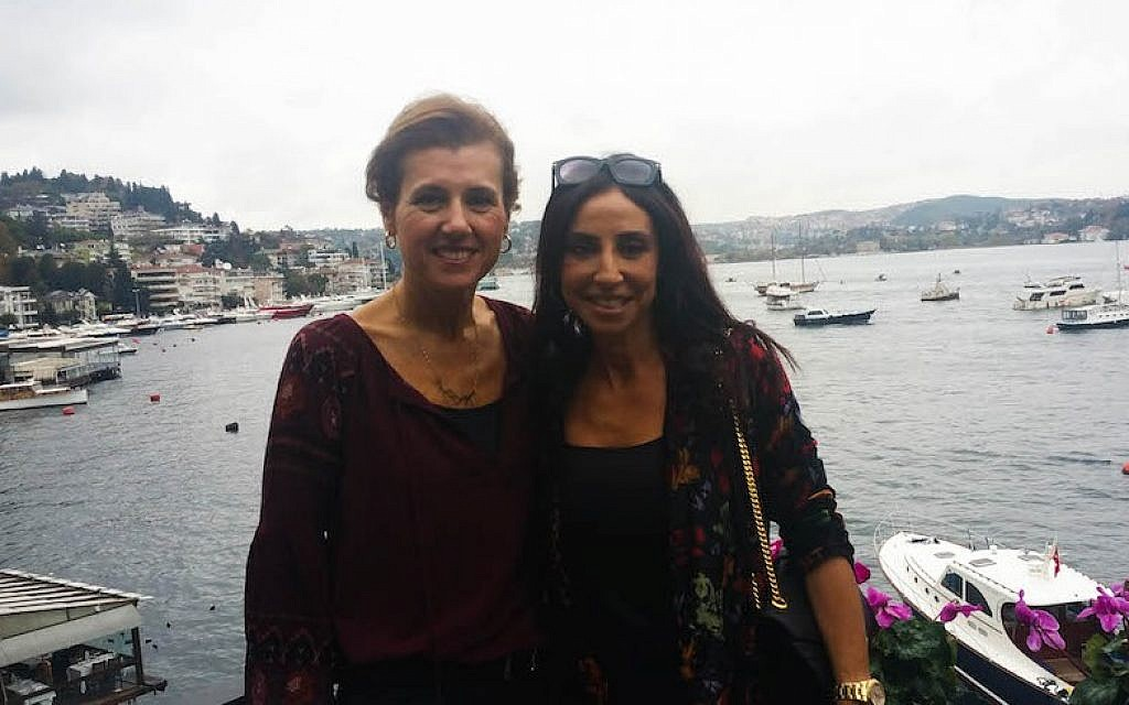 Turkish Jewish businesswoman Betty, left, and her friend Suzette at a cafe in Istanbul, Nov. 4, 2016. They asked that their last names not be used for security reasons. (Cnaan Liphshiz/JTA)