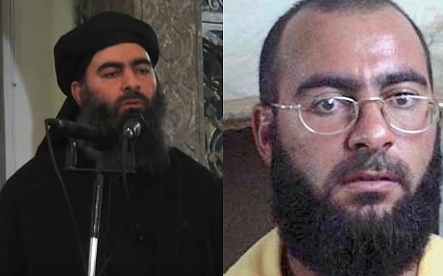 Islamic State leader Abu Bakr al-Baghdadi addressing Muslim worshipers at a mosque in Mosul in 2014 (L) and in a mugshot taken by US army soldiers while in detention at Camp Bucca in Iraq in 2004 (AFP/HO/al-Furqan Media, Public Domain: US Army)