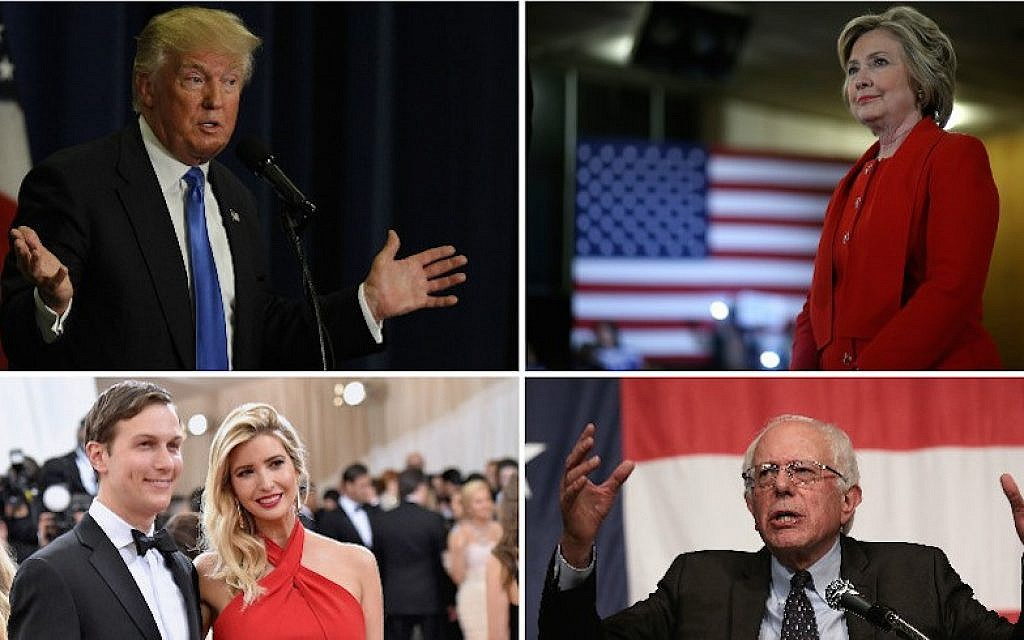 Clockwise, from top left: Donald Trump; Hillary Clinton; Bernie Sanders; Jared Kushner and Ivanka Trump. (Getty Images)