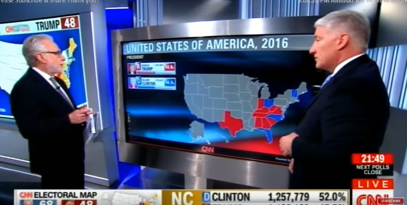 Wolf Blitzer and Jonh King discussing the dynamic electorate map on CNN as polls closed on November 8, 2016. (Screen capture: YouTube)